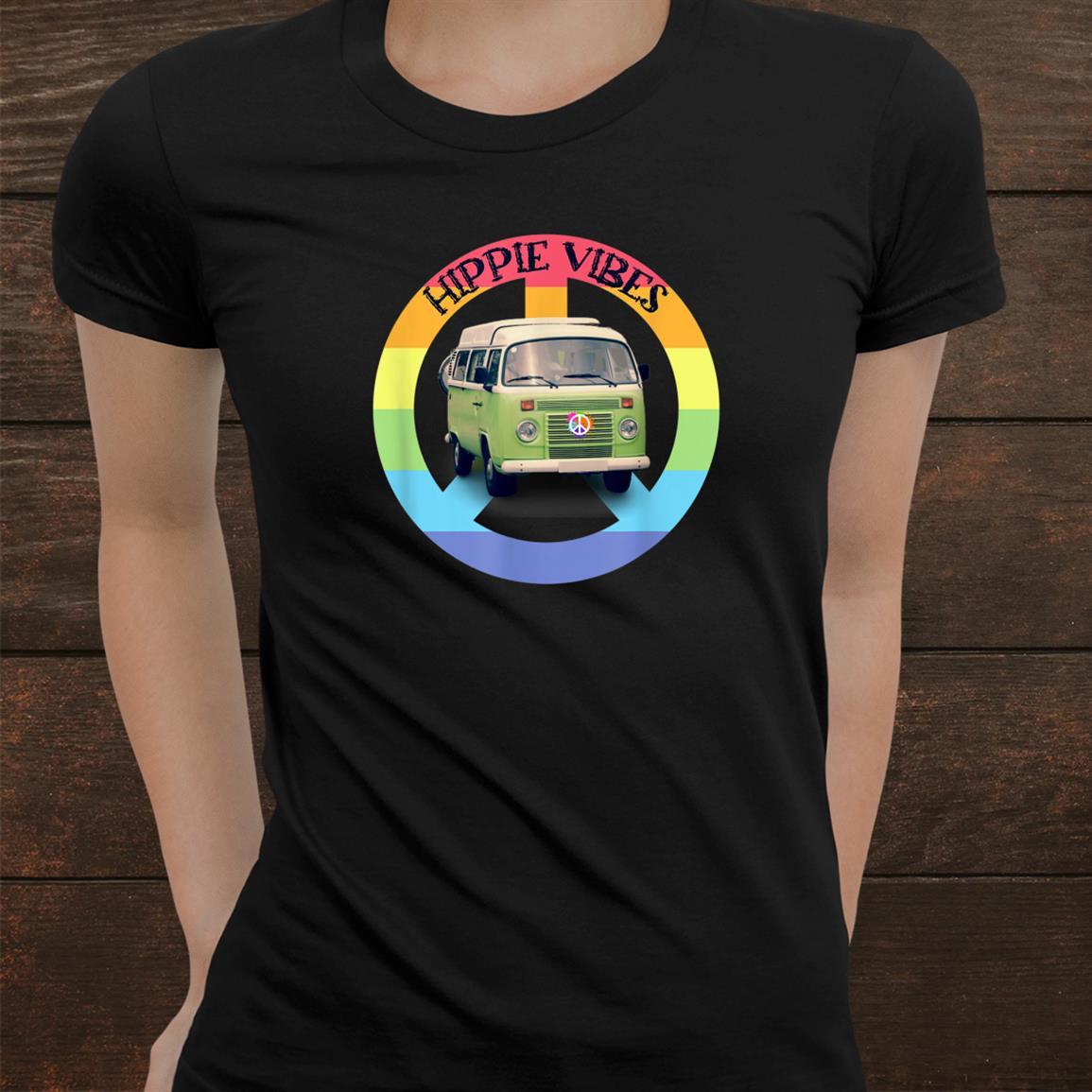 Hippie Vibes Peace Sign Rainbow Colors Hippie Van Shirt