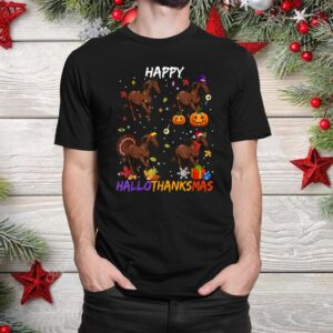 Horse Happy Hallothanksmas Halloween Thanksgiving Christmas Shirt