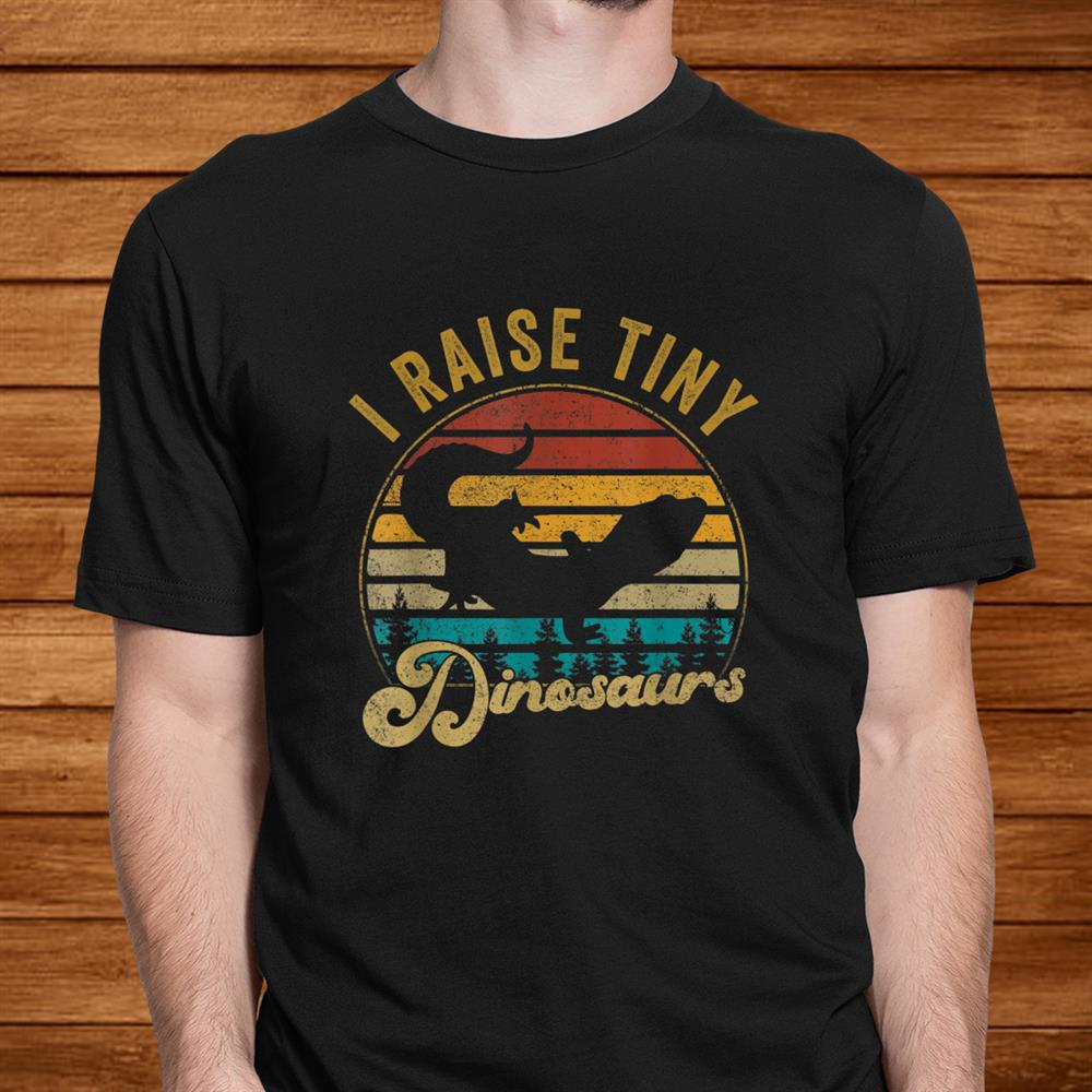 I Raise Tiny Dinosaurs Funny Vintage Retro0s Leopard Gecko Shirt