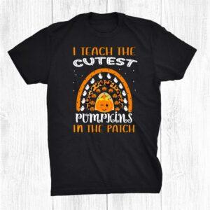 I Teach The Cutest Pumpkins Patch Rainbow Halloween Leopard Shirt