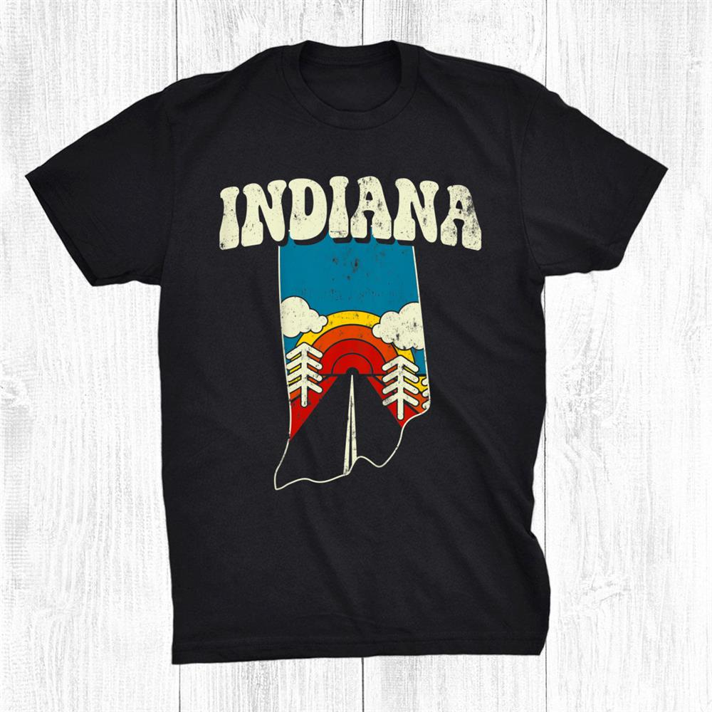 Indiana Vintage State Rainbow Hippie Retro 70s Map Shirt
