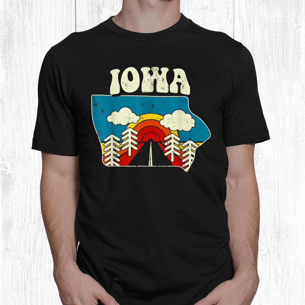 Iowa Vintage State Rainbow Hippie Retro 70s Map Shirt