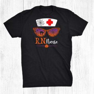 Jack O Lantern Leopard Pumpkin Rn Nurse Halloween Sunglasses Shirt