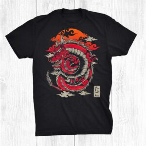 Japanese Dragon Retro Red Streetwear Style E Boy Chinese Shirt
