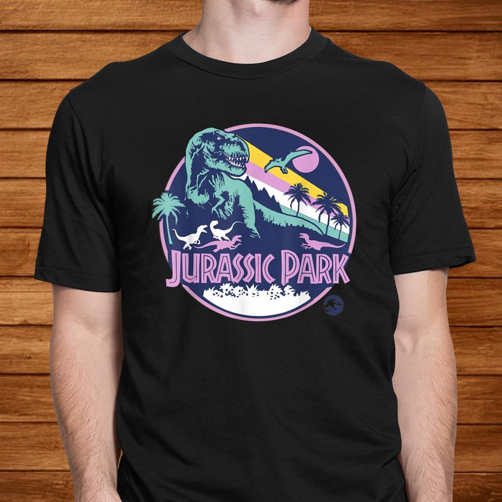 Jurassic Park Purple Retro Dinosaur Scene Shirt