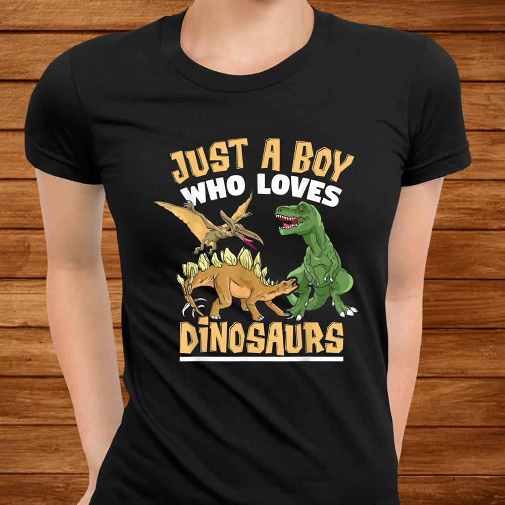 Just A Boy Who Loves Dinosaurs Schoolboys And Paleontologist Shirt