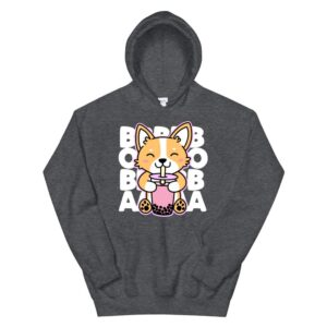 kawaii boba cute anime dog corgi kawaii tea drink dark hoodie 3