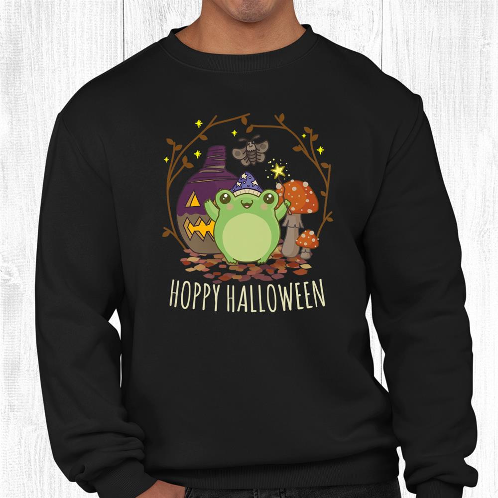 Kawaii Cottagecore Aesthetic Frog Fungi Cute Hoppy Halloween Shirt