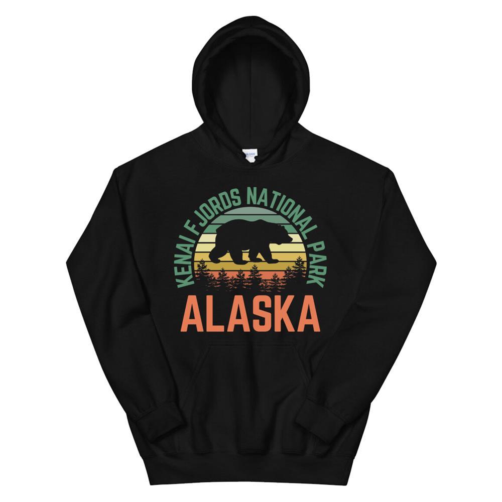 Kenai Fjords National Park Alaska Bear Hiking Nature Retro Hoodie