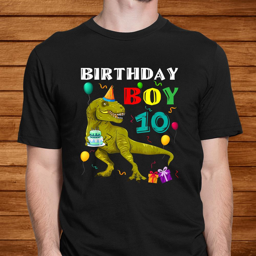 Kids0 Years Old0th Birthday Gift For Boy Dinosaur Shirt