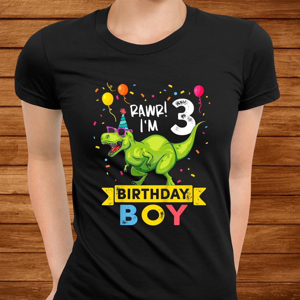Kids Year Old Shirtrd Birthday Boy T Rex Dinosaur Shirt