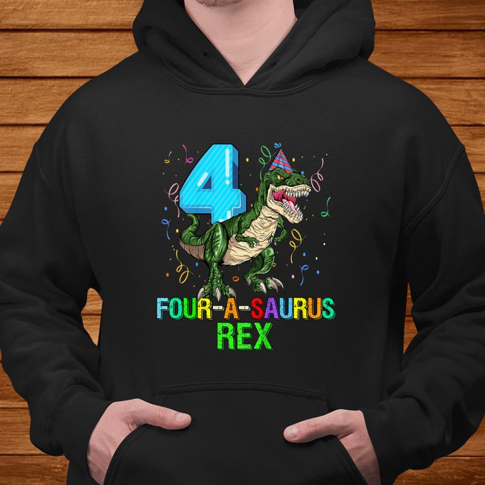 Kids Year Old Boyth Birthday Dinosaur Gift Fourasaurus Shirt