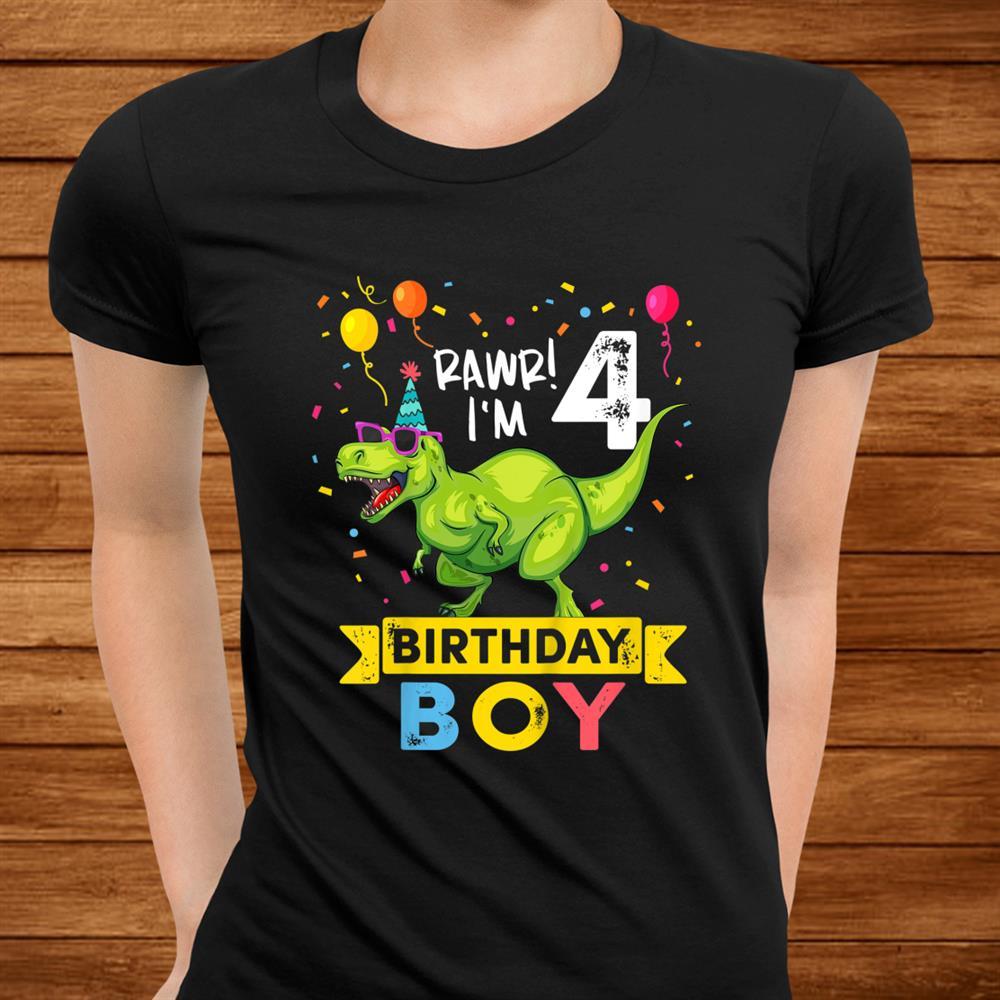 Kids Year Old Shirtth Birthday Boy T Rex Dinosaur Shirt