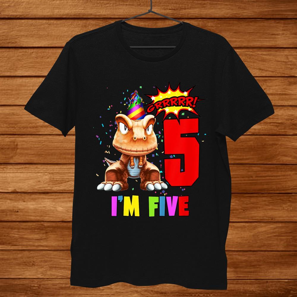 Kids Years Oldth Birthday Im Five Dinosaur Birthday Shirt