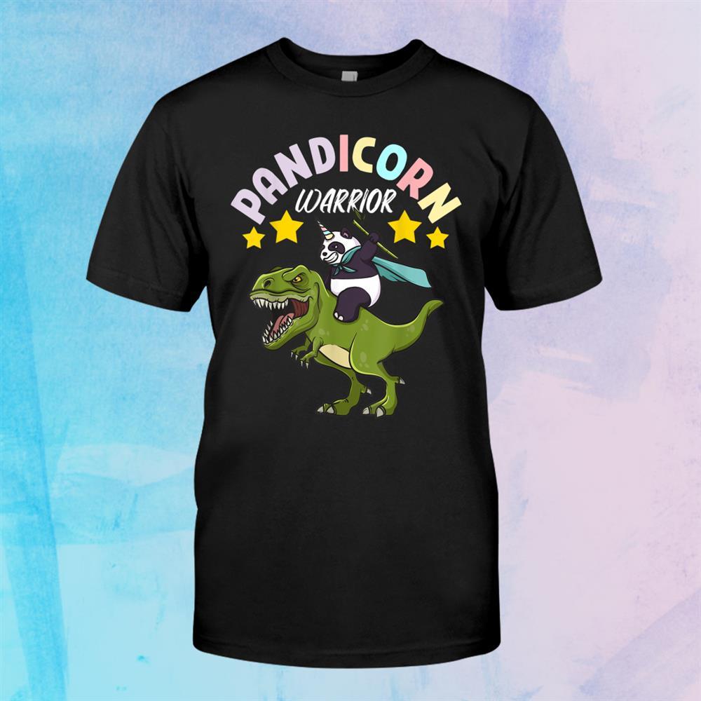Kids Cartoon Kawaii Pandicorn Warrior Panda Bear Dinosaur Shirt