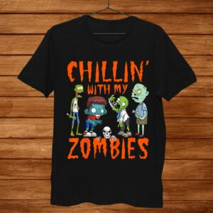 Kids Chillin With My Zombies Halloween Funny Zombie Gift Boys Shirt