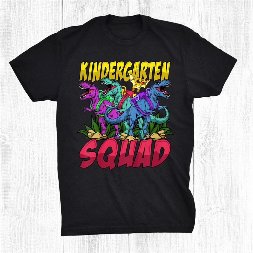Kids Dinosaur With Backpack Kindergarten Squad Back To School Shirt
