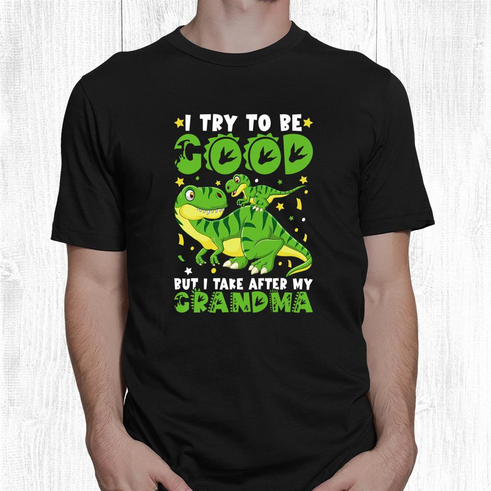 Kids I Try To Be Good But I Take After My Grandma Dinosaur Shirt