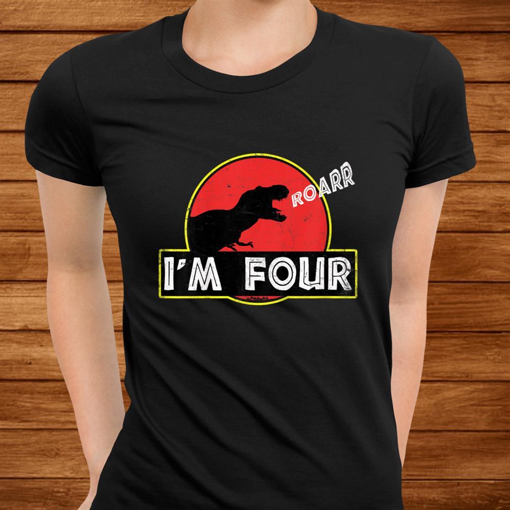 Kids Kids Year Old Birthday Shirt Roar Im Four Dinosaur Men