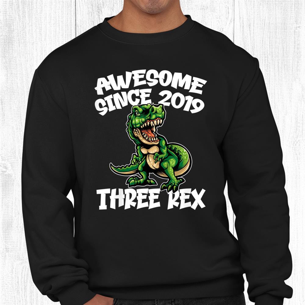 Kids Kids Three Rex 3rd Birthday Shirt Dinosaur 3 Year Old Shirt