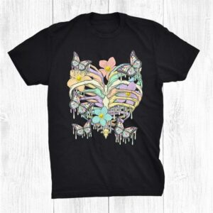 Kids Nu Goth Skeleton Pastel Goth Cute Creepy Dripping Butterfly Shirt