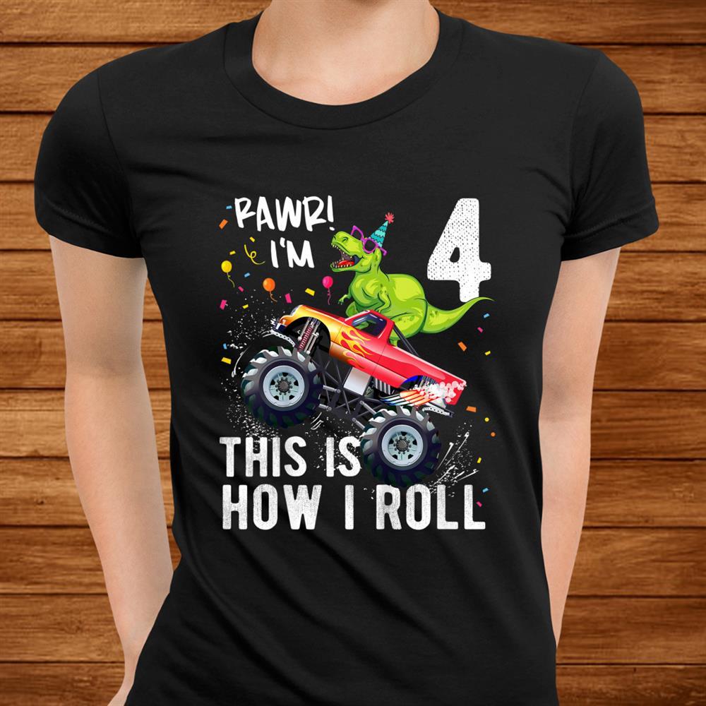 Kids T Rex Dinosaur Monster Truckth Birthday Boys And Girls Shirt