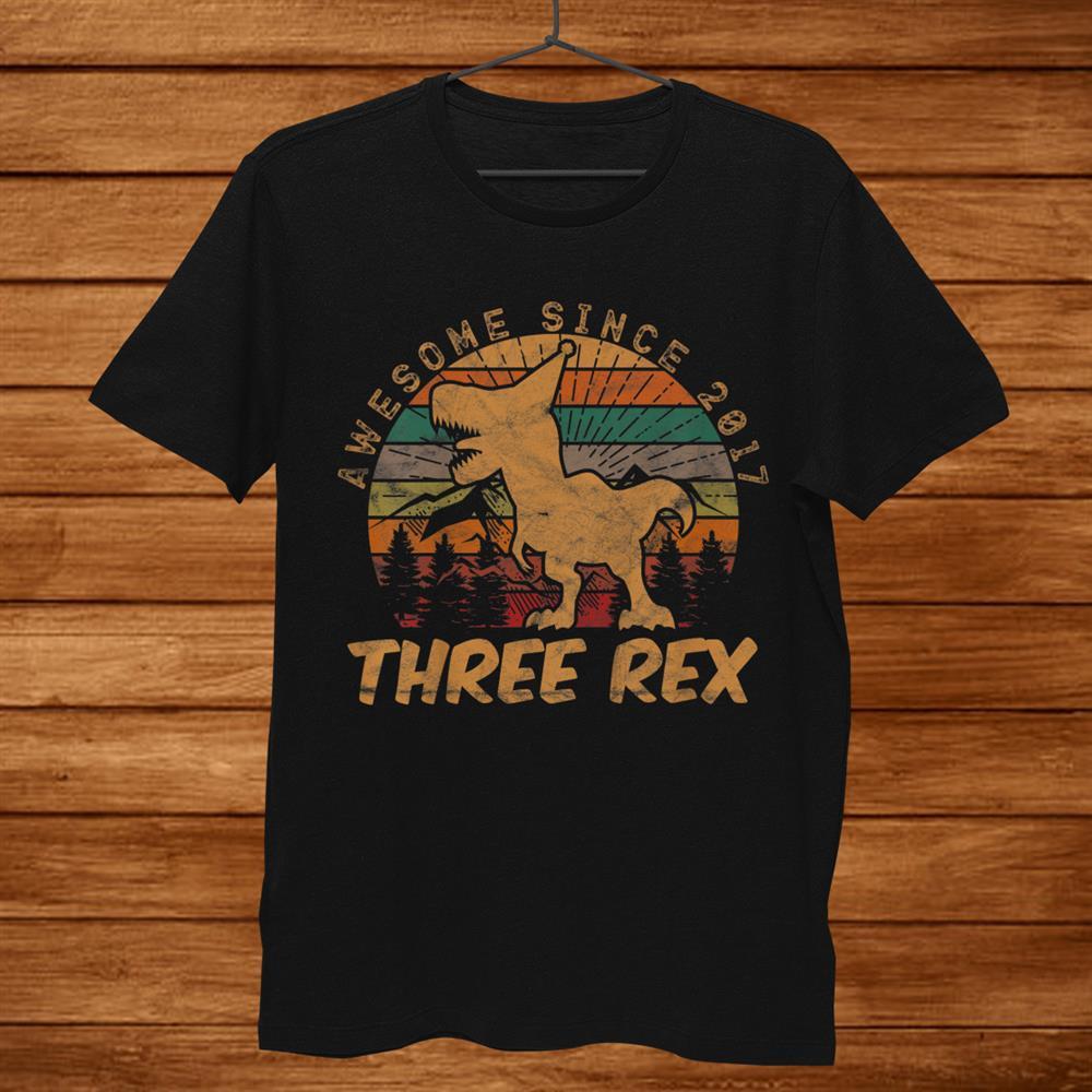 Kids Three Rexrd Birthday Gifts Third Dinosaur Year Old Shirt