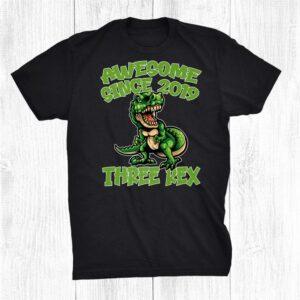 Kids Three Rex 3rd Birthday Shirt Dinosaur 3 Year Old Shirt