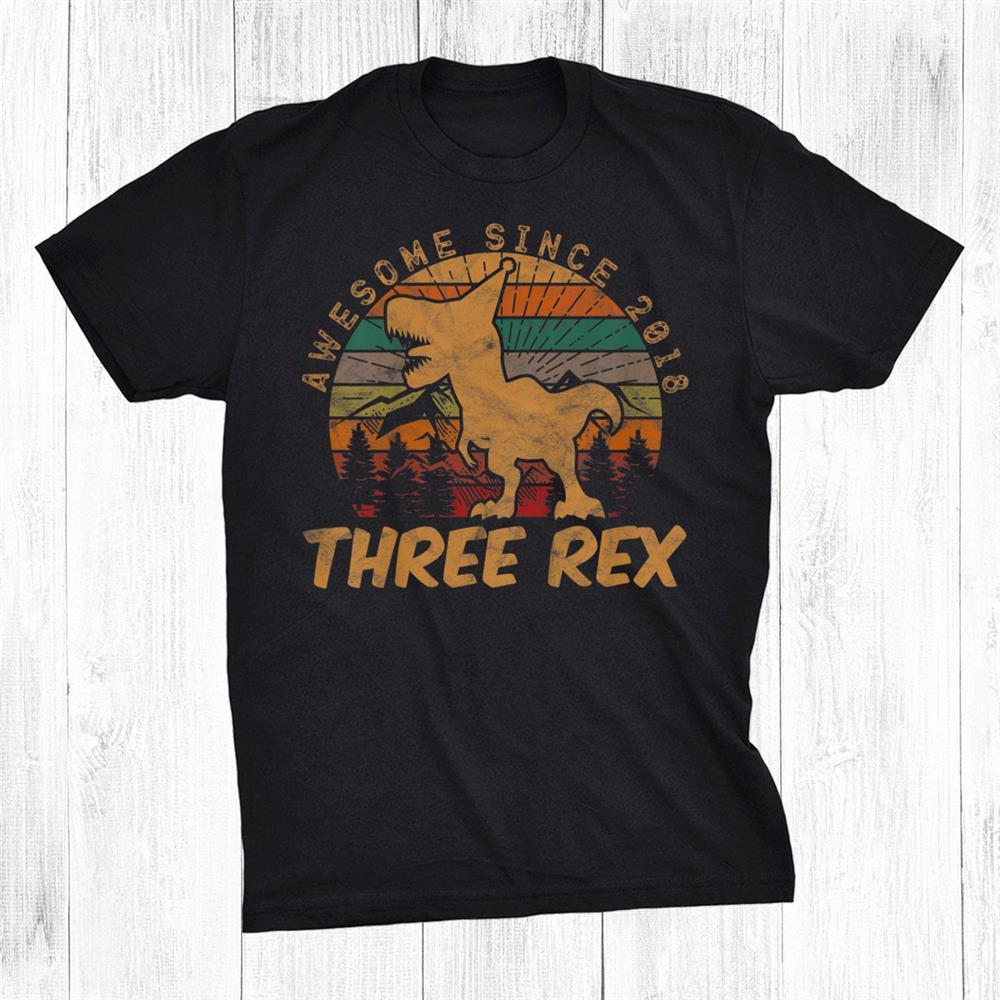 Kids Three Rexrd Birthday Third Dinosaur Year Old Shirt