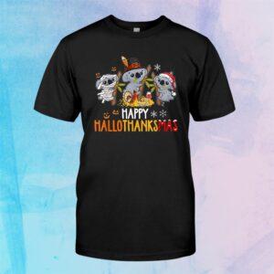 Koala Halloween And Merry Christmas Happy Hallothanksmas Shirt
