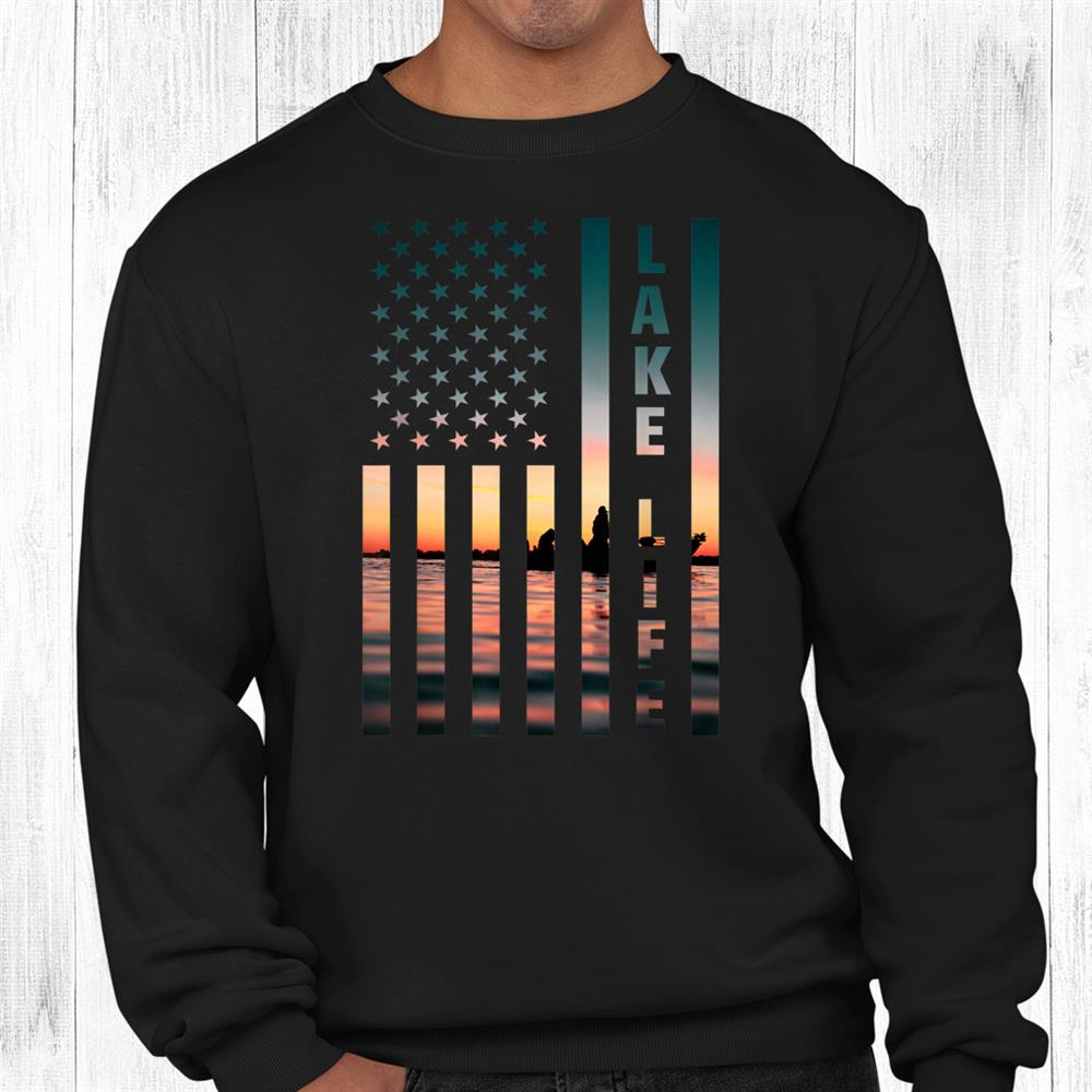 Lake Life Fisherman Sunset American Flag Bass Fishing Boat Shirt