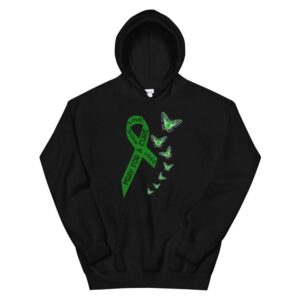 Liver Cancer Awareness Green Ribbon Religious Butterflies Hoodie