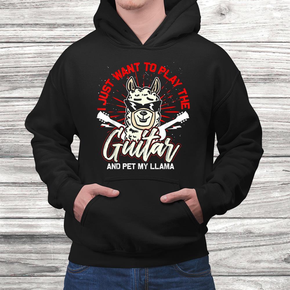 Llama Guitarist Music Alpaca Guitar Shirt