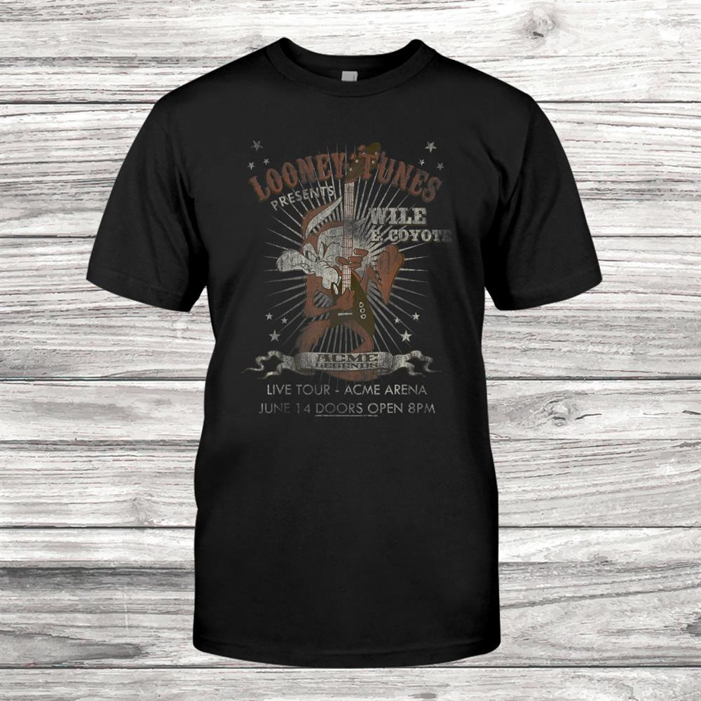 Looney Tunes Wile E Coyote Guitar Dark Shirt