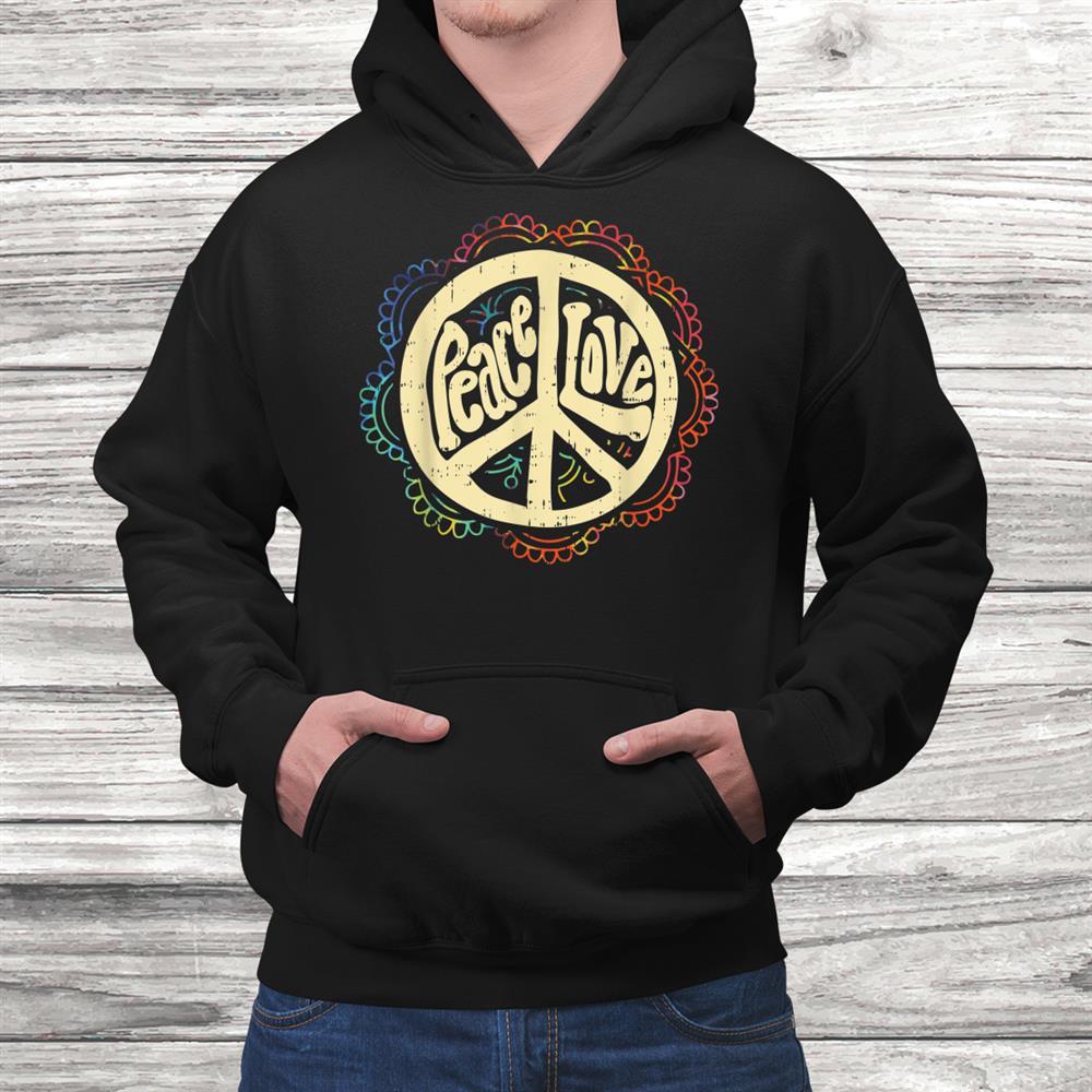 Love Peace Symbol Flower Vintage0s Retro Hippie Hippy Shirt