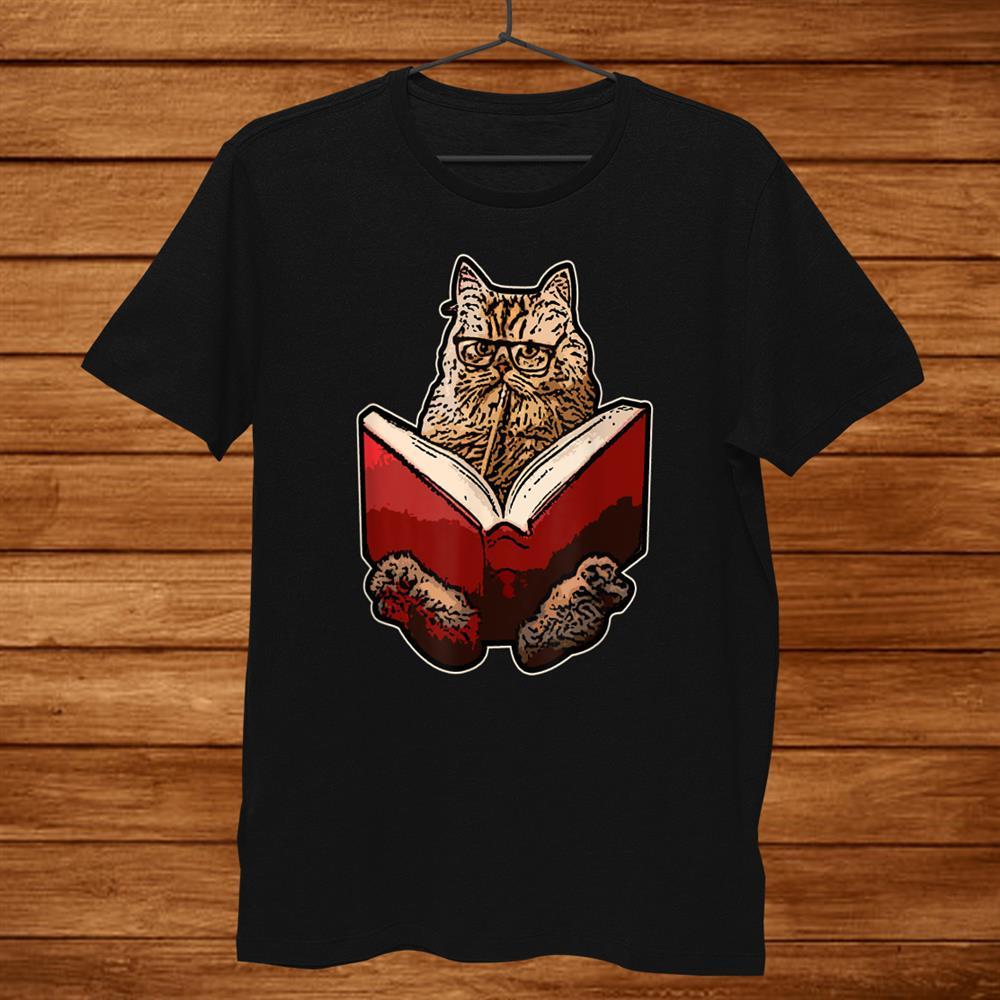 Lucky Cats Reading Books Women Men Pet Animal Lover Shirt