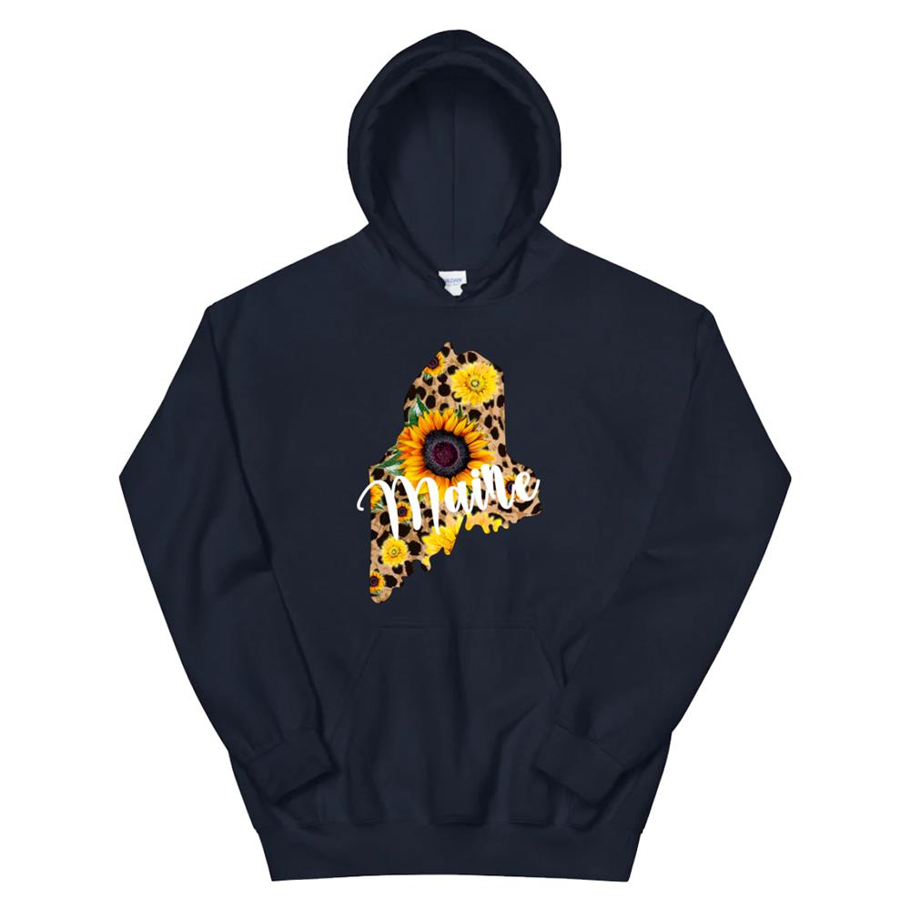 Maine Sunflower Leopard Print Wildflower State Map Hoodie