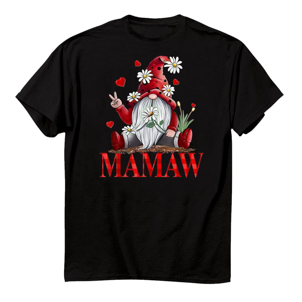 Mamaw Valentine Gnome Hippie Beetle Daisy Flower Gnome Shirt