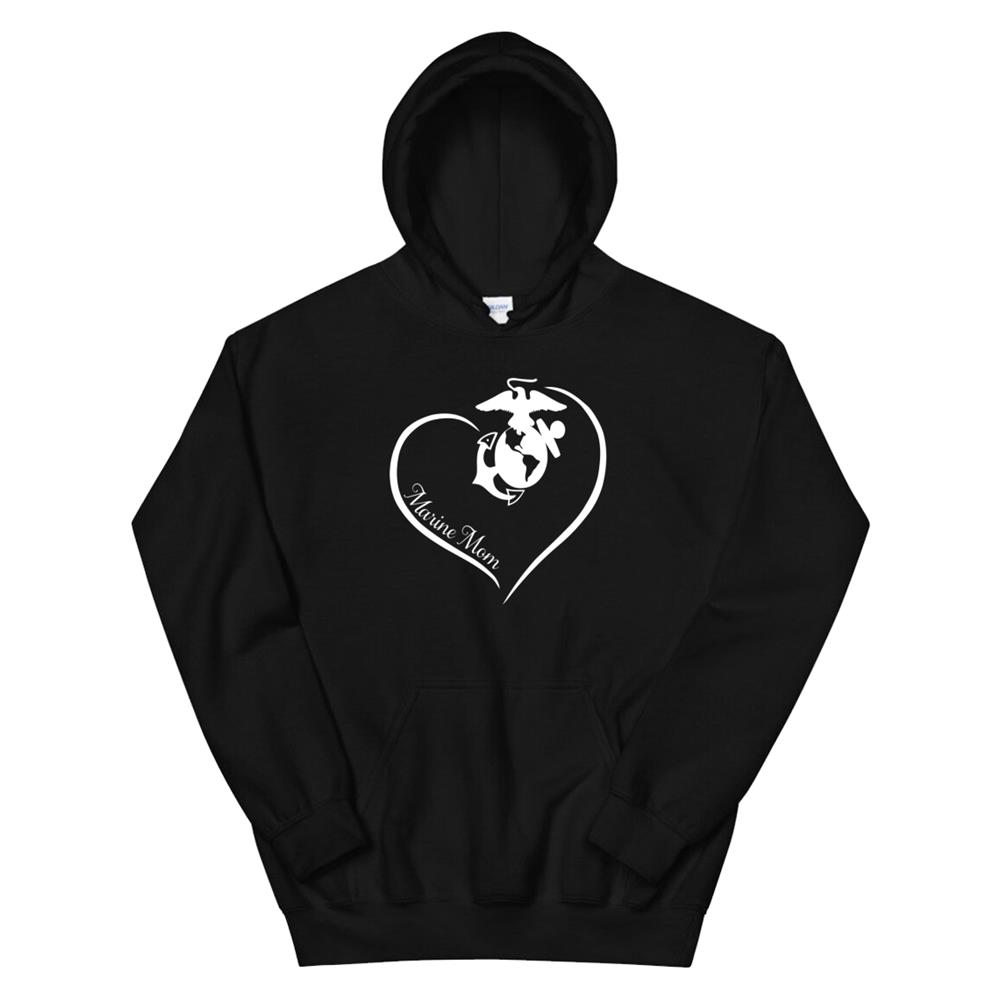 Marine Mom Curve Heart Hoodie