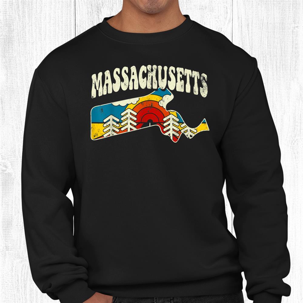 Massachusetts Vintage State Rainbow Hippie Retro 70s Map Shirt