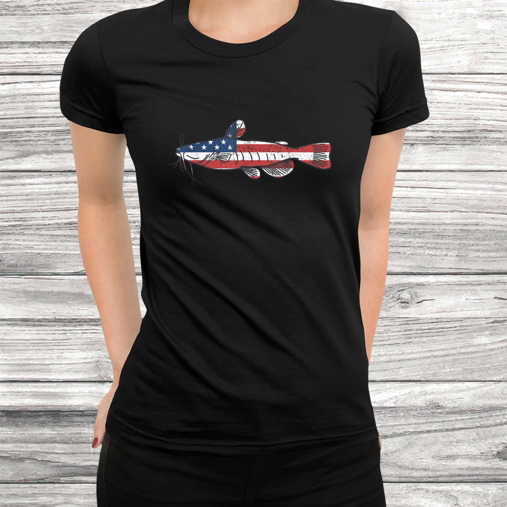 Mens Catfishing Shirt Catfish Apparel American Flag Fish Shirt
