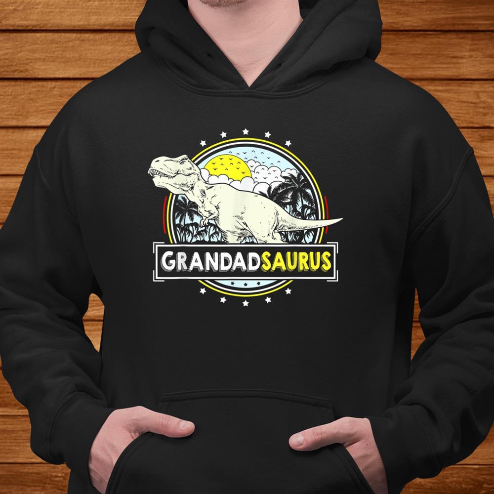 Mens Grandadsaurus Shirt For Grandpa T Rex Dinosaur Men