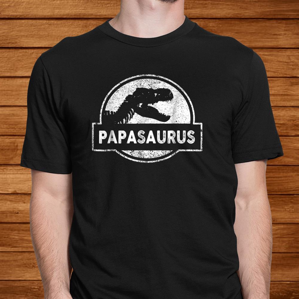 Mens Jurassic Papasaurus Rex Dinosaur Tee For Dad Papa Father Men