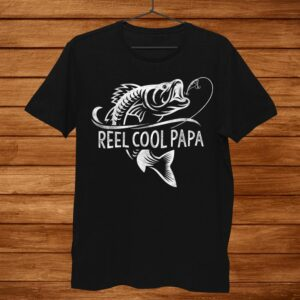 Mens Reel Cool Papa Fishing Dad Gifts Fisherman Fish Shirt