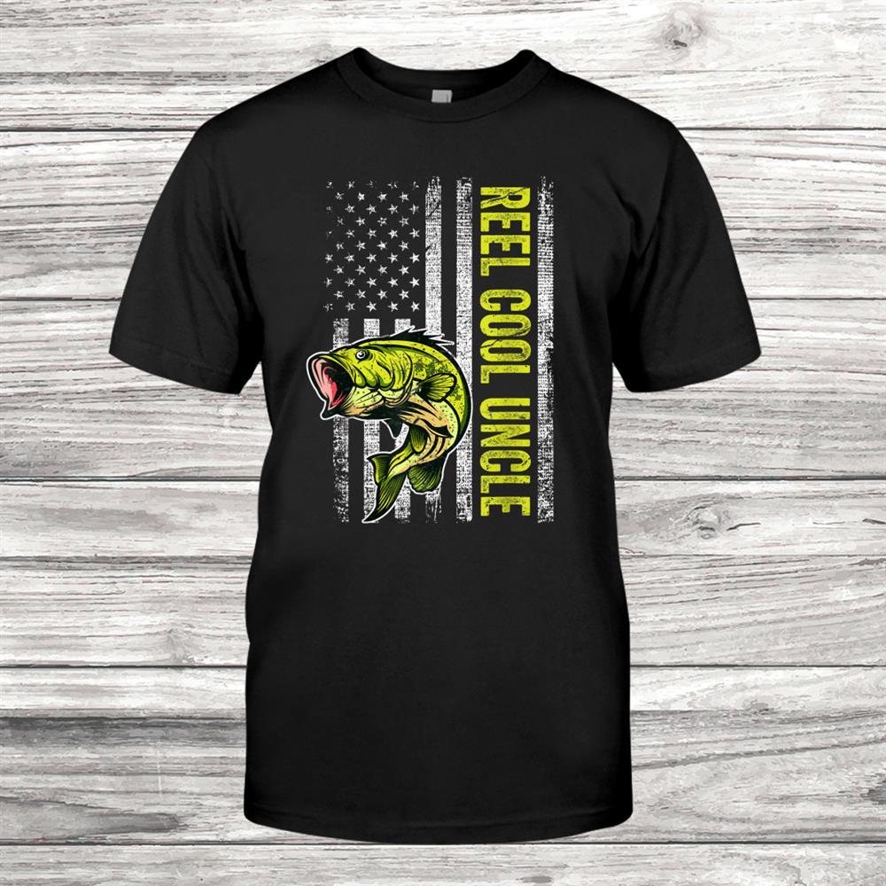 Mens Reel Cool Uncle Fishing Gift American Flag Shirt