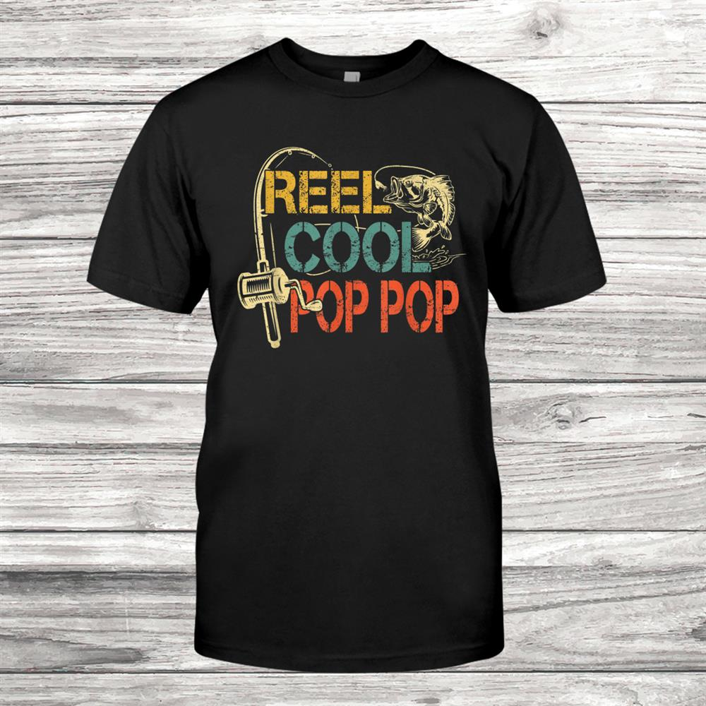 Mens Retro Vintage Reel Cool Pop Pop Fishing Gifts For Family Shirt