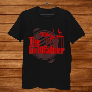 Mens The Grillfather Funny Cool Bbq Grill Chef Shirt