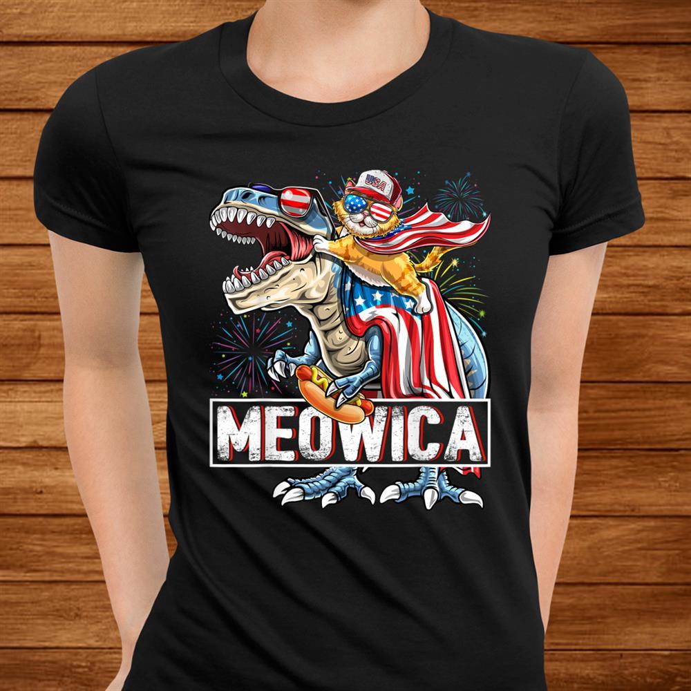 Meowica Cat T Rex Dinosaurth Of July American Flag Kids Shirt