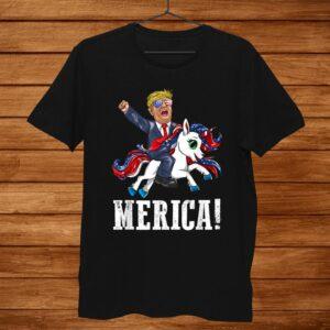 Merica Flag Sunglasses Unicorn Trump America First Shirt