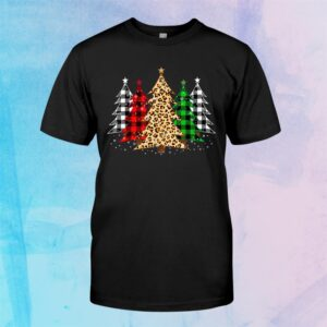 Merry Christmas Trees With Leopardand & Plaid Print Shirt